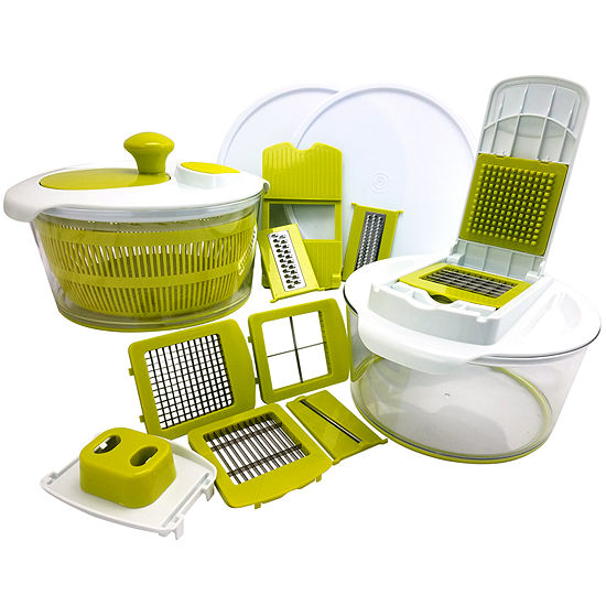 MegaChef 10 in 1 Multi-Use Salad Spinning Slicer Dicer and Chopper with Interchangeable Blades and Storage Lids