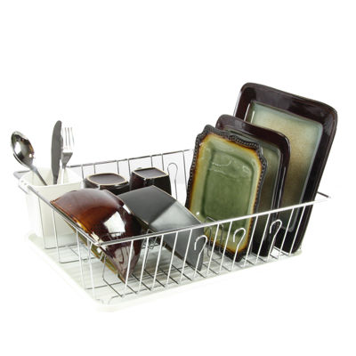 MegaChef 17.5 Inch Dish Rack with 14 Plate Positioners and a Detachable Utensil Holder
