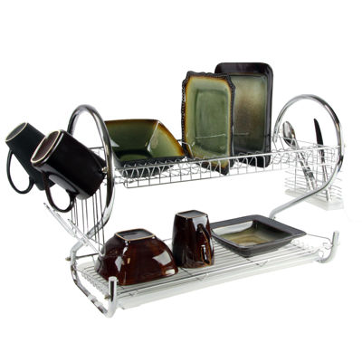 MegaChef 16 Inch Two Shelf Dish Rack with Easily Removable Draining Tray, 6 Cup Hangers and Removable Utensil Holder