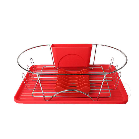 MegaChef 17 Inch Red and Silver Dish Rack with Detachable Utensil holder and a 6 Attachable Plate Positioner