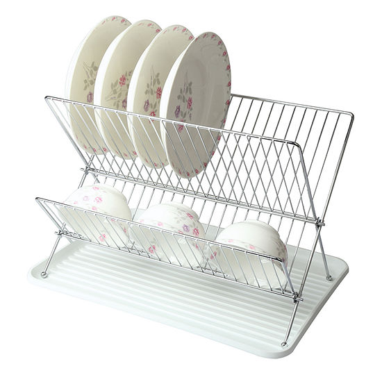 MegaChef Wire Dish Rack With Plastic Tray - White