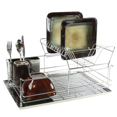 MegaChef 15.5 Inch Stainless Iron Shelf Dish Rack
