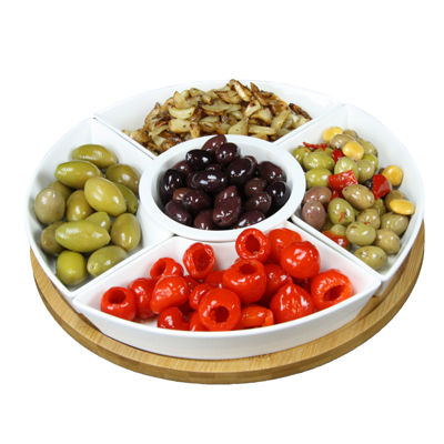 Elama Signature 12 1/4 Inch 6pc Lazy Susan Appetizer and Condiment Server Set