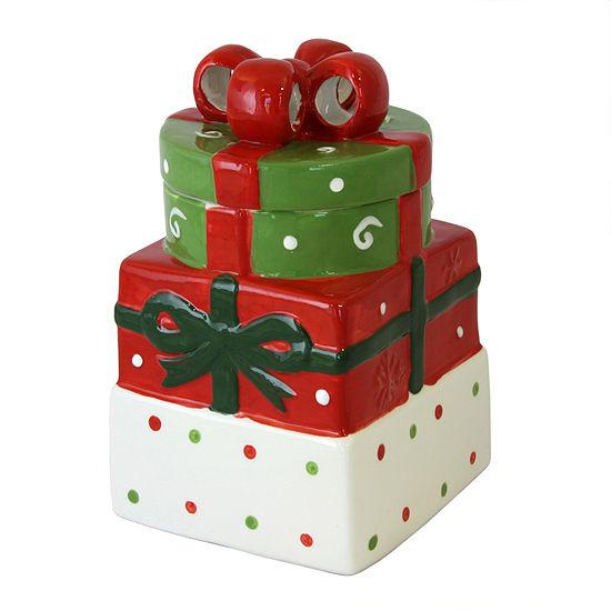 "Christmas Estate 7.5"" Gift Box Cookie Jar"