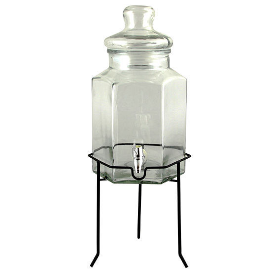 Gibson Home Antique Bay Glass Beverage Dispenser with Wire Stand