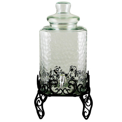 Gibson Home Moreauville 2.25 Gallon Square Embossed Glass Beverage Dispenser with Wire Stand