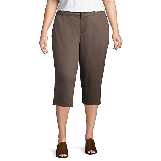 St. John's Bay® Straight Leg Secretly Slender Twill Crop - Plus
