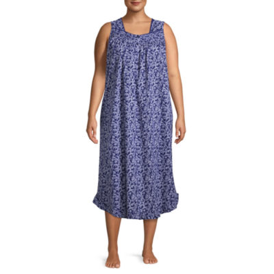 Adonna Woven Sleeveless Square Neck Floral Nightgown-Plus