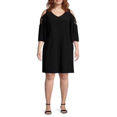 MSK 3/4 Sleeve Shift Dress - Plus