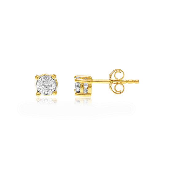 Tru Miracle 1/6 CT. T.W. Genuine White Diamond 10K Gold 4.7mm Stud Earrings