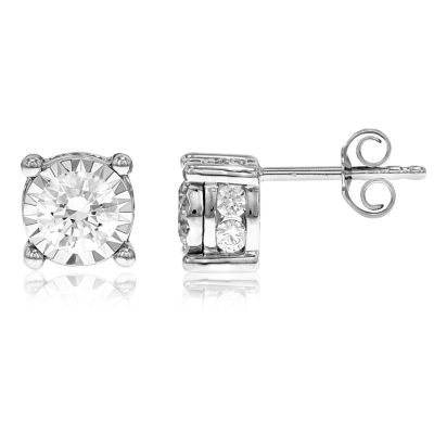 1 1/2 CT. T.W. Genuine White Diamond 14K Gold 7.8mm Stud Earrings