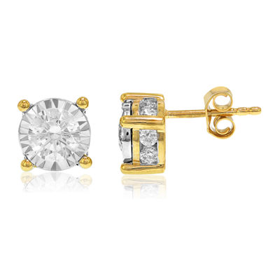 1 1/2 CT. T.W. Genuine White Diamond 14K Gold Stud Earrings