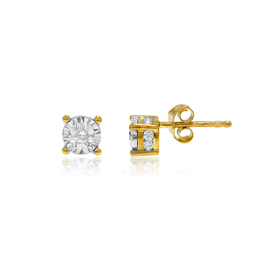 T W Genuine White Diamond 10k Gold Stud Earrings