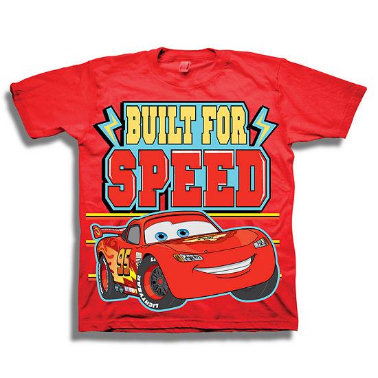 Disney Toddler Boys Graphic Tees Boys Crew Neck Short Sleeve Cars Graphic T-Shirt-Toddler