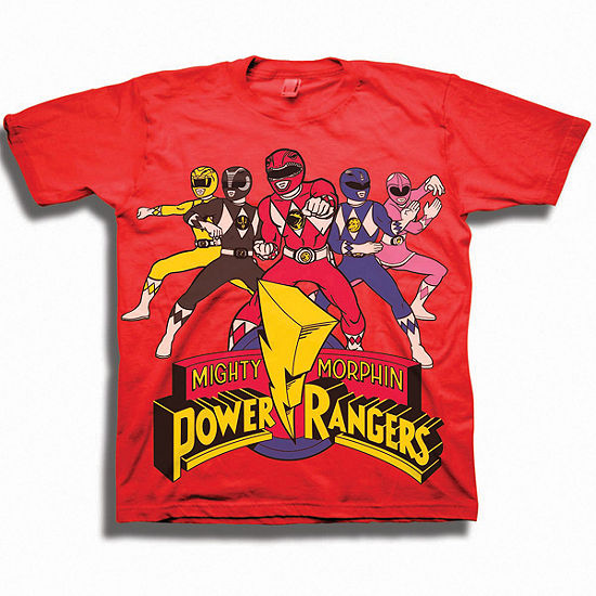 Power Rangers Toddler Boys Graphic Tees-Toddler Boys Crew Neck Power Rangers Short Sleeve Graphic T-Shirt