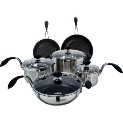 Eazigrip 10 Pc Stainless Steel Cookware Set