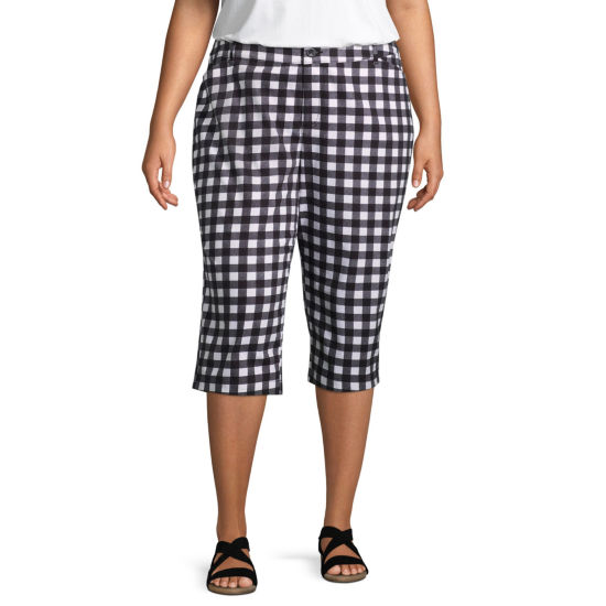 St. John's Bay® Secretly Slender Gingham Twill Crop - Plus