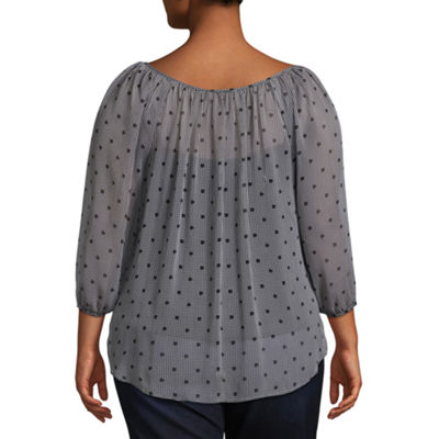 Alyx 3/4 Sleeve Dots Peasant Top - Plus
