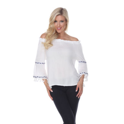 White Mark Smocked Neckline Peasant Top with Pom Pom Trim