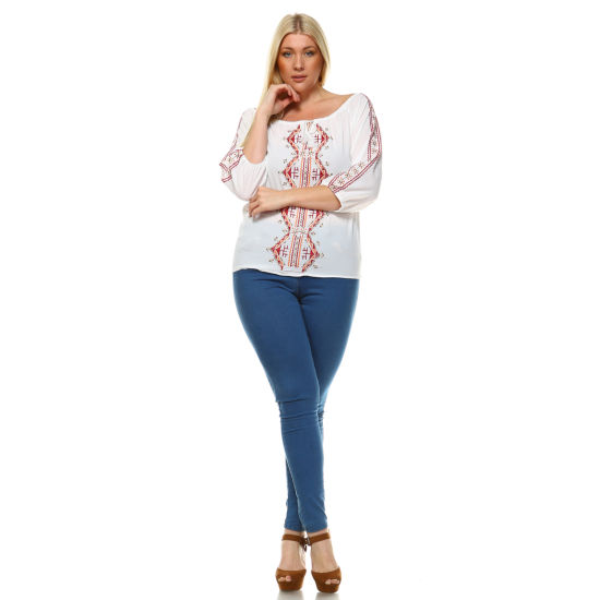 White Mark 'Harriet' Embroidered Peasant Top - Plus