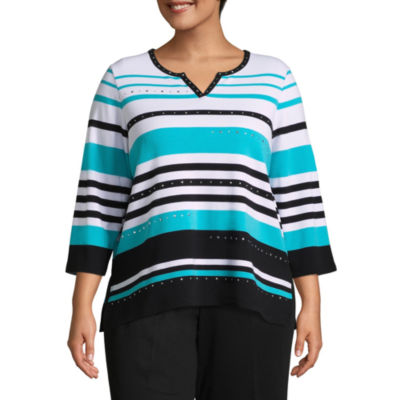 Alfred Dunner Play Date Striped Tee- Plus