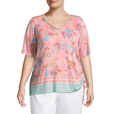 Lark Lane Je T'aime Border Print Top with Ride Ruching- Plus