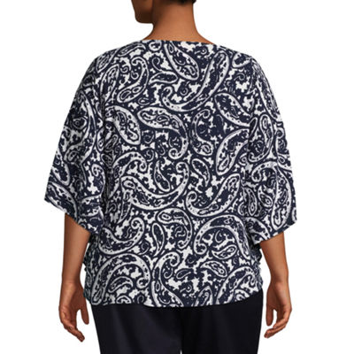 Lark Lane Cote D'Azur Paisley Butterfly Top- Plus