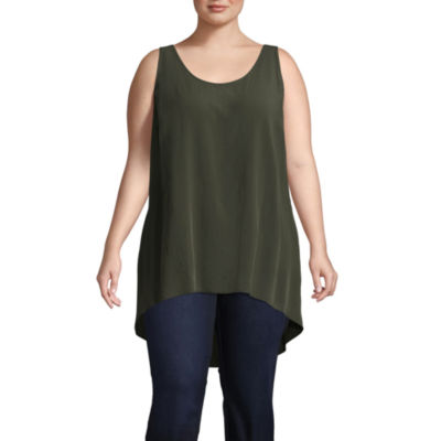 Boutique + Sleeveless Woven Tank Top - Plus