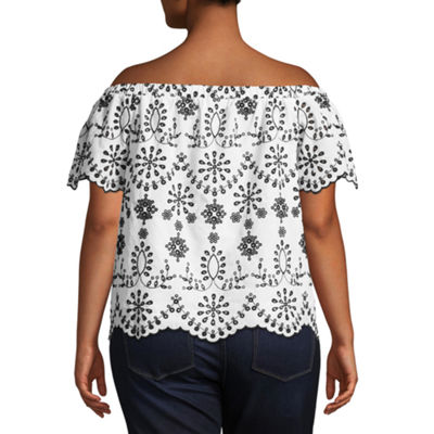 Boutique + Short Sleeve Embroidered Eyelet Woven Blouse - Plus