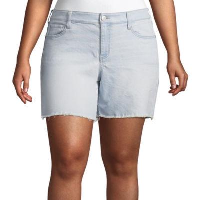 "Boutique + 6"" Regular Fit Denim Shorts - Plus"