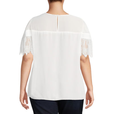 Worthington Lace Short Sleeve Blouse - Plus