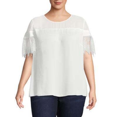 Worthington Short Lace Sleeve Blouse - Plus