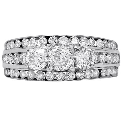 LIMITED QUANTITIES 2 CT. T.W. Diamond 14K White Gold Three-Stone Engagement Ring