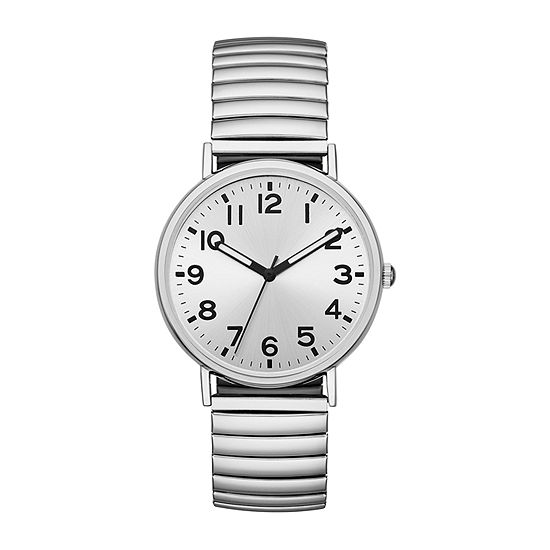 Opp Table Mens Silver Tone Stainless Steel Expansion Watch-Fmdjo148