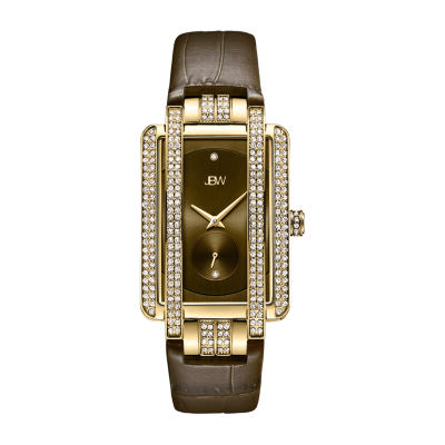 JBW 2 Diamonds/ .02 Ctw Womens Brown Strap Watch-J6358l-A