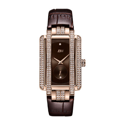 JBW Genuine Diamond Accent Womens Diamond Accent Brown Leather Strap Watch-J6358l-B