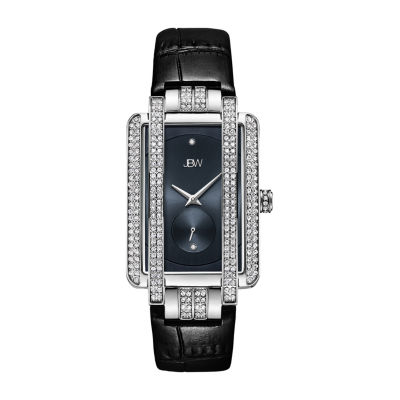 JBW Genuine Diamond Accent Womens Diamond Accent Black Leather Strap Watch-J6358l-C