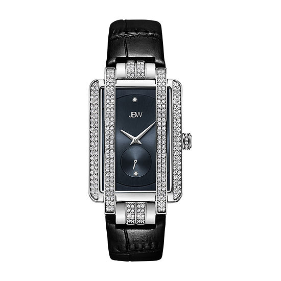JBW Genuine Diamond Accent Womens Diamond Accent Black Leather Strap Watch-J6358l-C