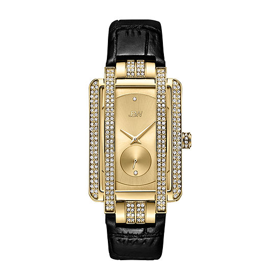 JBW Genuine Diamond Accent Womens Diamond Accent Black Leather Strap Watch-J6358l-D