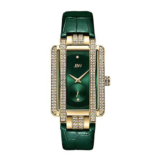 JBW 2 Diamonds/ .02 Ctw Womens Green Strap Watch-J6358l-E