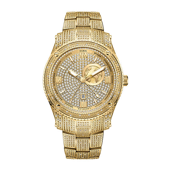 JBW 100 Diamonds/ 1.00 Ctw Mens Gold Tone Bracelet Watch-J6370a