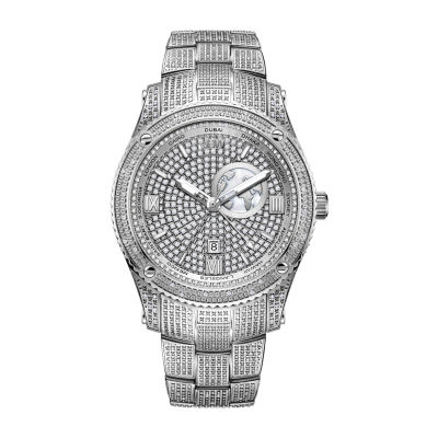 JBW 1 Ct. T.W. Genuine Diamond Mens Diamond Accent Silver Tone Stainless Steel Bracelet Watch-J6370b