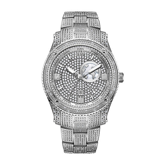 JBW 100 Diamonds/ 1.00 Ctw Mens Silver Tone Bracelet Watch-J6370b