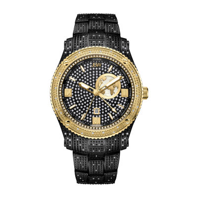 JBW 1 Ct. T.W. Genuine Diamond Mens Diamond Accent Black Stainless Steel Bracelet Watch-J6370c