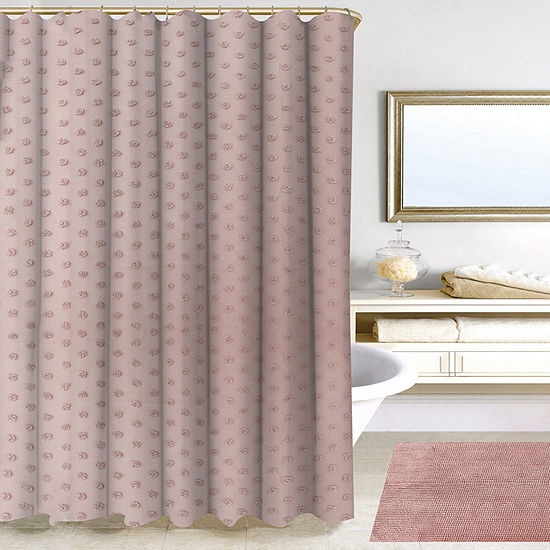 Homewear Pink Polka Dot Shower Curtain Set