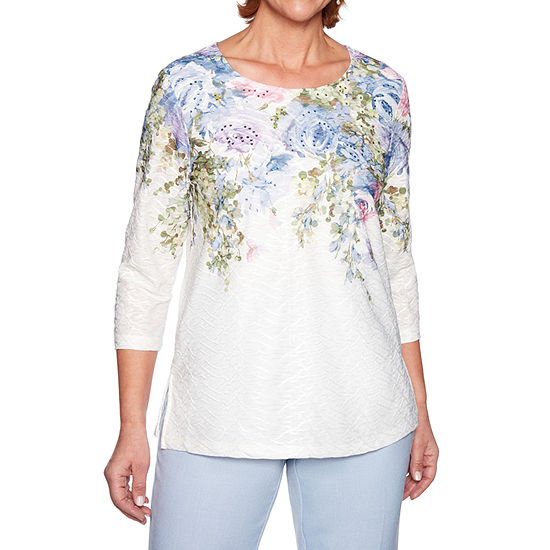 Alfred Dunner Southampton-Womens Round Neck 3/4 Sleeve T-Shirt