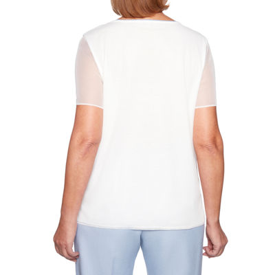 Alfred Dunner Southampton Womens Crew Neck Short Sleeve Layered Top