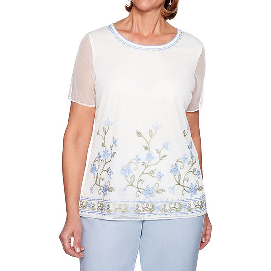 Alfred Dunner South Hampton Womens Crew Neck Short Sleeve Layered Top