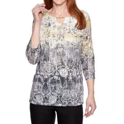 Alfred Dunner Womens Keyhole Neck 3/4 Sleeve Layered Top