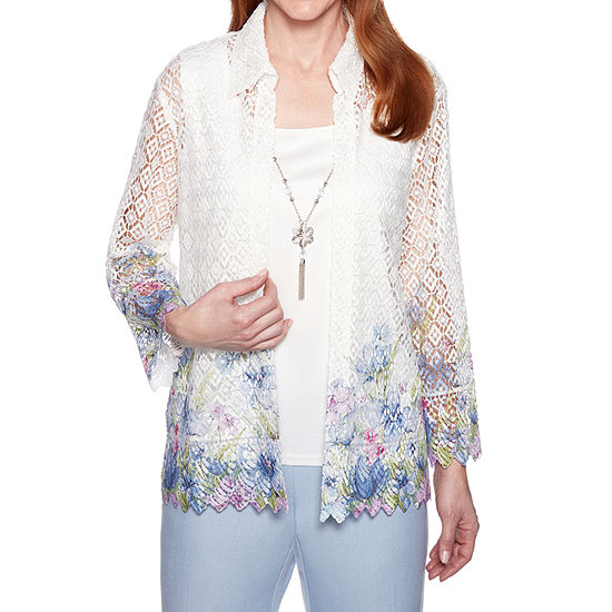 Alfred Dunner Womens 3/4 Sleeve Layered Top